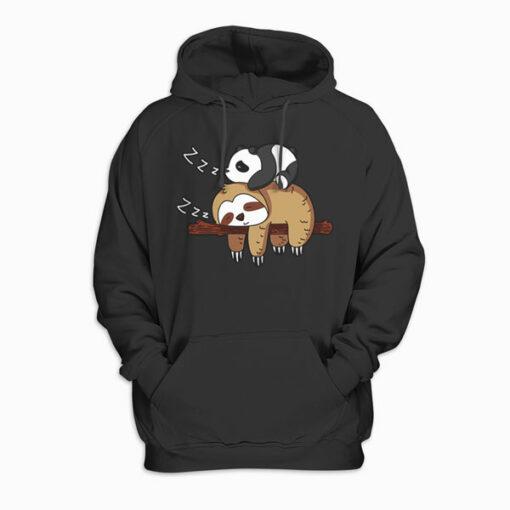 Cute Panda Sleeping on Sloth Lover Hoodie