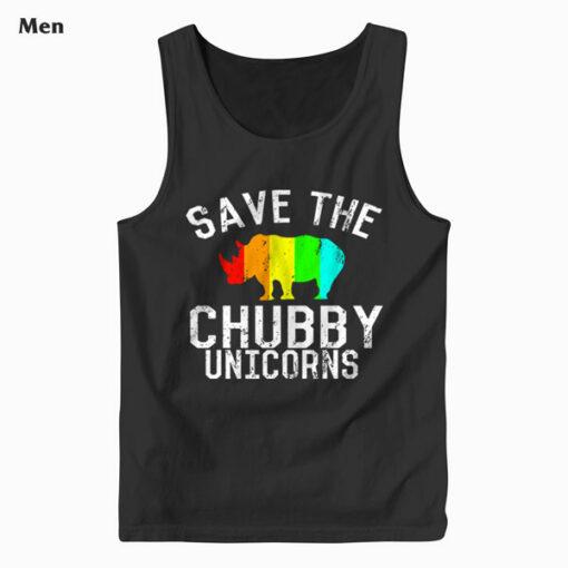 Funny Save the Chubby Unicorns Fat Rhino Tank Top