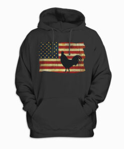 Vintage US Flag Cock Fight Hoodie