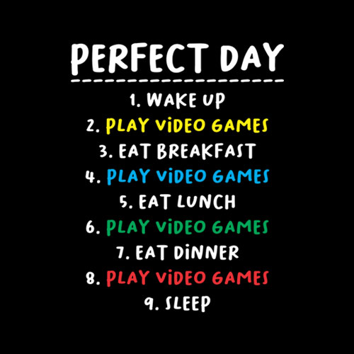 My Perfect Day Video Games Funny T-shirt