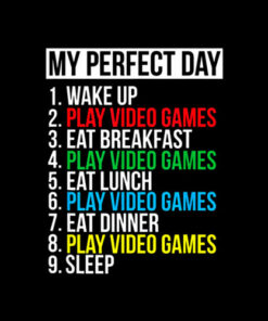 My Perfect Day Video Games Funny Cool Gamer Tee Gift T shirt
