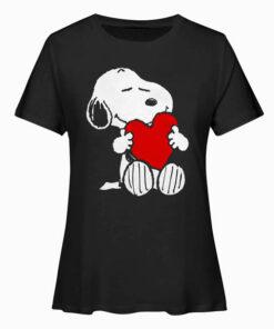 Peanuts Valentine Snoopy Hugging Heart T Shirt