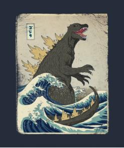 The Great Godzilla off Kanagawa T-Shirt Design
