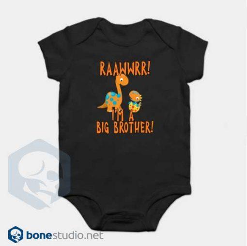 Big Brother Dinosaur Onesie RAAWWRR Black Baby Onesie