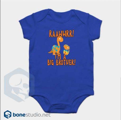 Big Brother Dinosaur Onesie RAAWWRR Blue Baby Onesie
