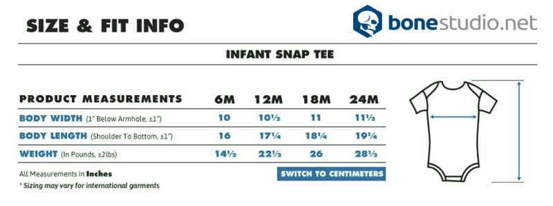 Bonestudio Baby Onesie Size Chart