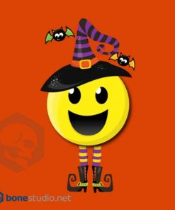 Creepy Happy Witch Halloween Emoji T-Shirt Kids