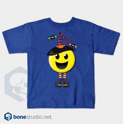 Creepy Happy Witch Halloween Emoji T-Shirt Kids Blue