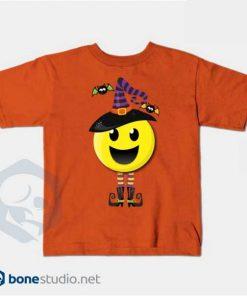 Creepy Happy Witch Halloween Emoji T-Shirt Kids Orange
