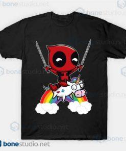 Deadpool Riding A Unicorn Black T Shirt