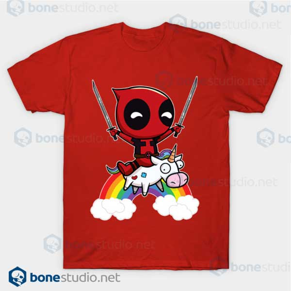 Deadpool Riding A Unicorn Red T Shirt