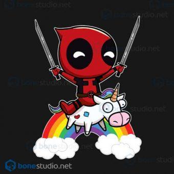 Deadpool Riding A Unicorn T Shirt