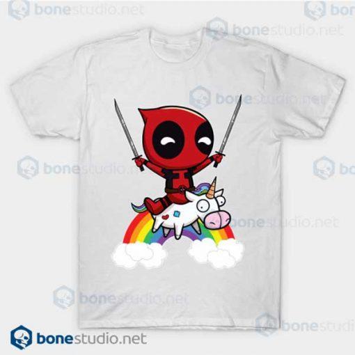 Deadpool Riding A Unicorn White T Shirt