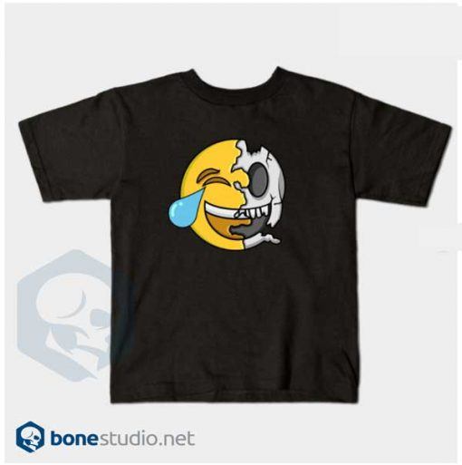 Emoji T-Shirt Kids Cute Emoji Skeleton Kids Black T-Shirt