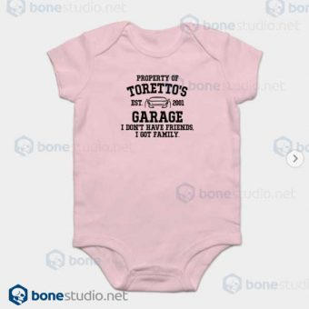 Fast and Furious Toretto Garage Baby Onesie Pink Onesie