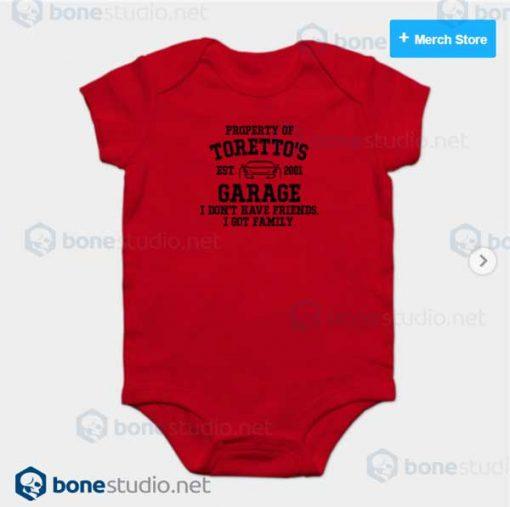 Fast and Furious Toretto Garage Baby Onesie Red Onesie