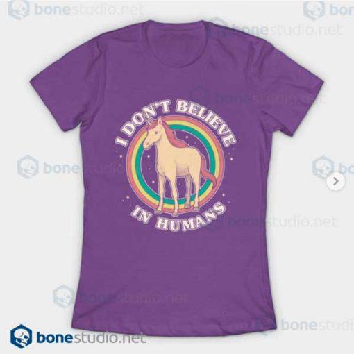 I Dont Believe In Human Unicorn T-Shirt Purple