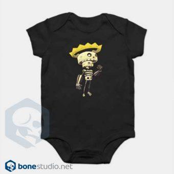 Skeleton Onesie King Skeleton Baby Onesie Black