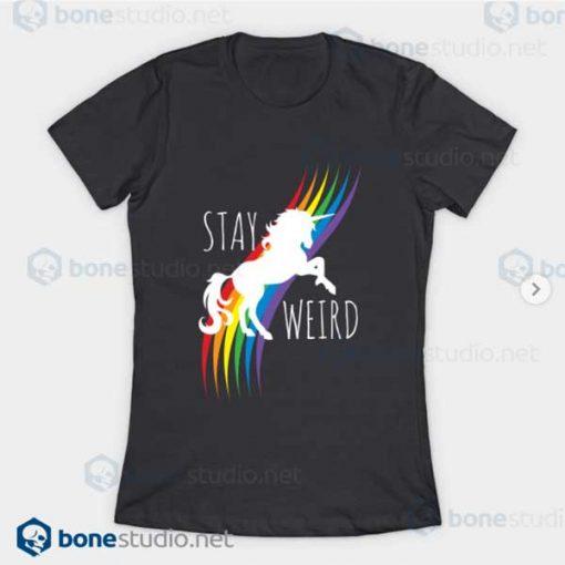 Stay Weird Rainbow Unicorn T-Shirt Asphalt