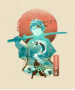 Ukiyo e Breath of Water T-Shirt Design