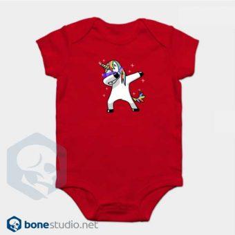 Unicorn Onesie Dabbing Unicorn Baby Onesie Red