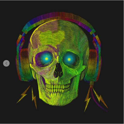 SKULL WITH HEADPHONES NEON GREEN T-Shirt black design