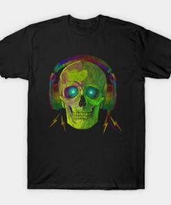 SKULL WITH HEADPHONES NEON GREEN T-Shirt black for men