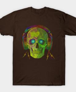 SKULL WITH HEADPHONES NEON GREEN T-Shirt brown for men