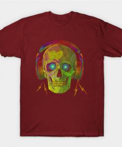 SKULL WITH HEADPHONES NEON GREEN T-Shirt maroon for men