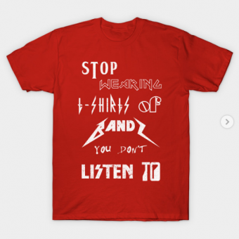 Stop Wearing T-Shirts of Bands red for men