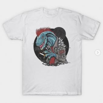 dinosaur punk raptor T-Shirt white for men