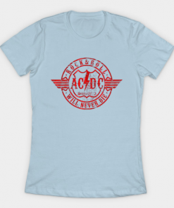 Acdc red circle T-Shirt light blue for women