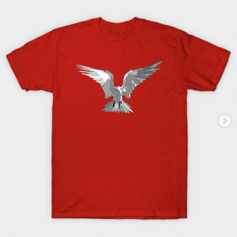 Angel Bird Black and White T-Shirt red for men
