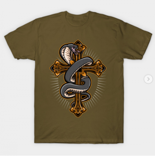 Cross with Snape T-Shirt military green for men
