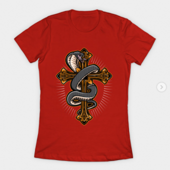 Cross with Snape T-Shirt red for women