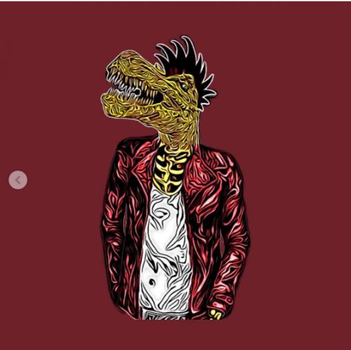 Dino Punk T-Shirt maroon design