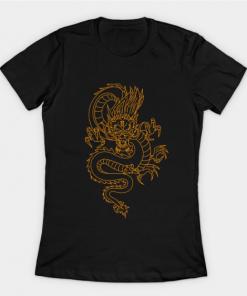 Gold dragon t-shirts black for women