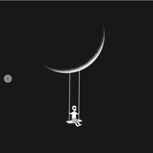 Moon swing T-shirt claasique T-Shirt black design