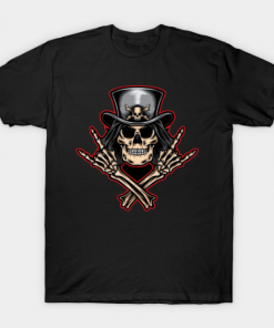 Scull rock and roll T-Shirt black for men
