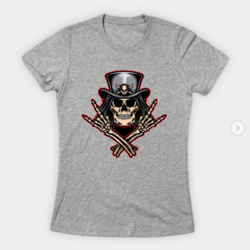 Scull rock and roll T-Shirt heather for women