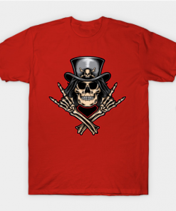 Scull rock and roll T-Shirt red for men