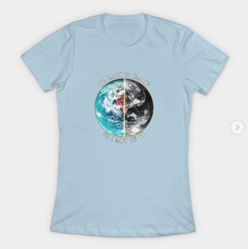 THE EARTH IS HEALING T-Shirt light blue for women