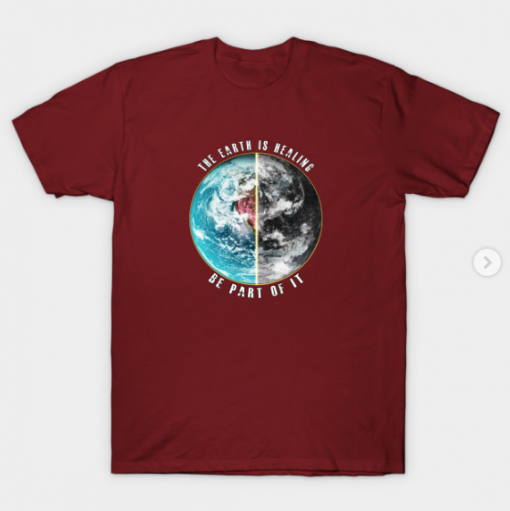 THE EARTH IS HEALING T-Shirt maroon for men