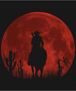 Red moon T-Shirt black design